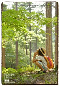 森林浴と川遊び