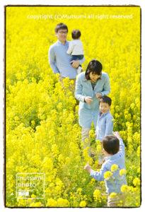 菜の花の中で【ファミリーフォト】