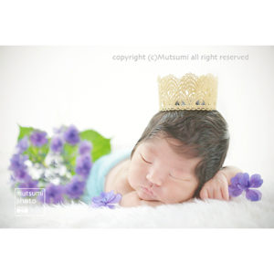 紫陽花と新生児【ニューボーンフォト】